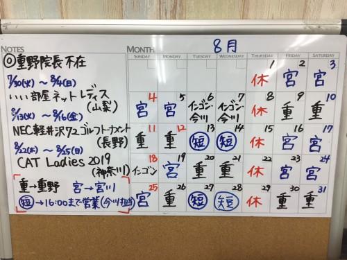 8月診療予定(改訂)